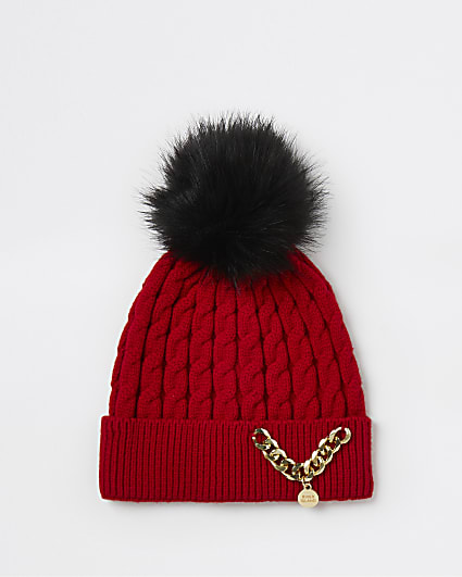 Girls red RI chain beanie hat