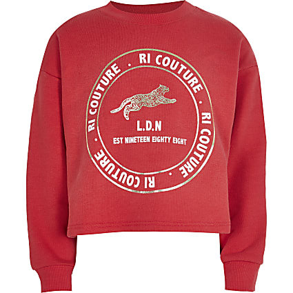 Girls red RI 'Couture' sweatshirt