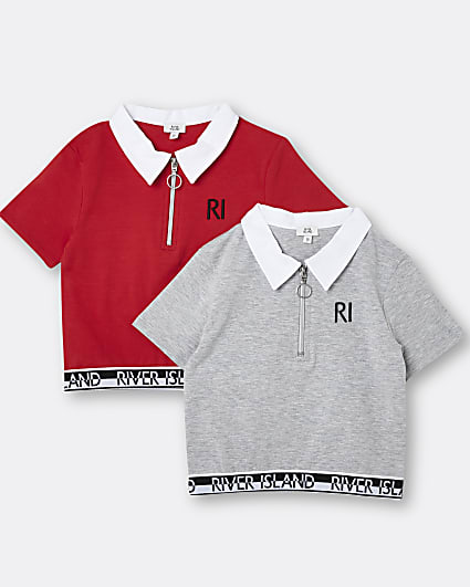 Girls red RI polo tops 2 pack