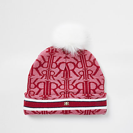 Girls red RIR monogram beanie hat