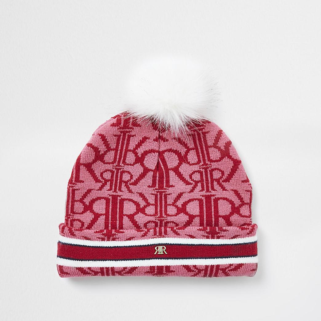 Girls red RIR monogram beanie hat