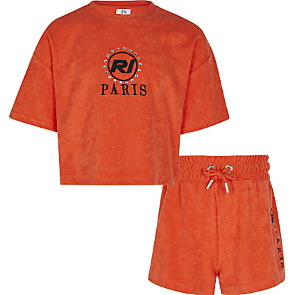 Girls red towelling t-shirt and shorts outfit