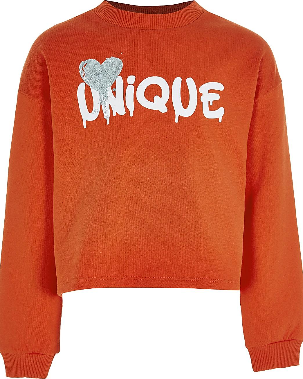 Girls red 'Unique' chest print sweatshirt