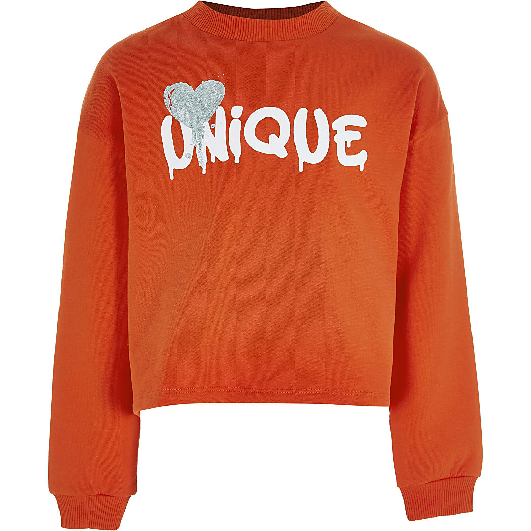 Girls red 'Unique' chest print sweatshirt