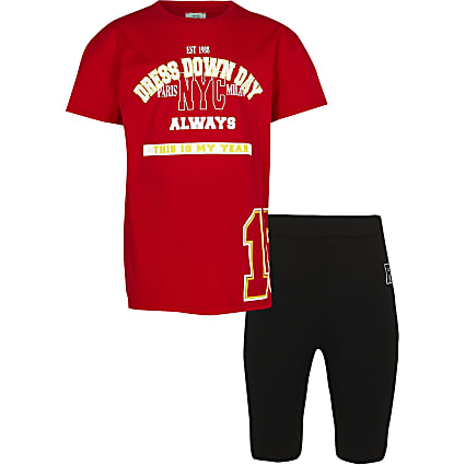 Girls red varsity t-shirt and cycling shorts