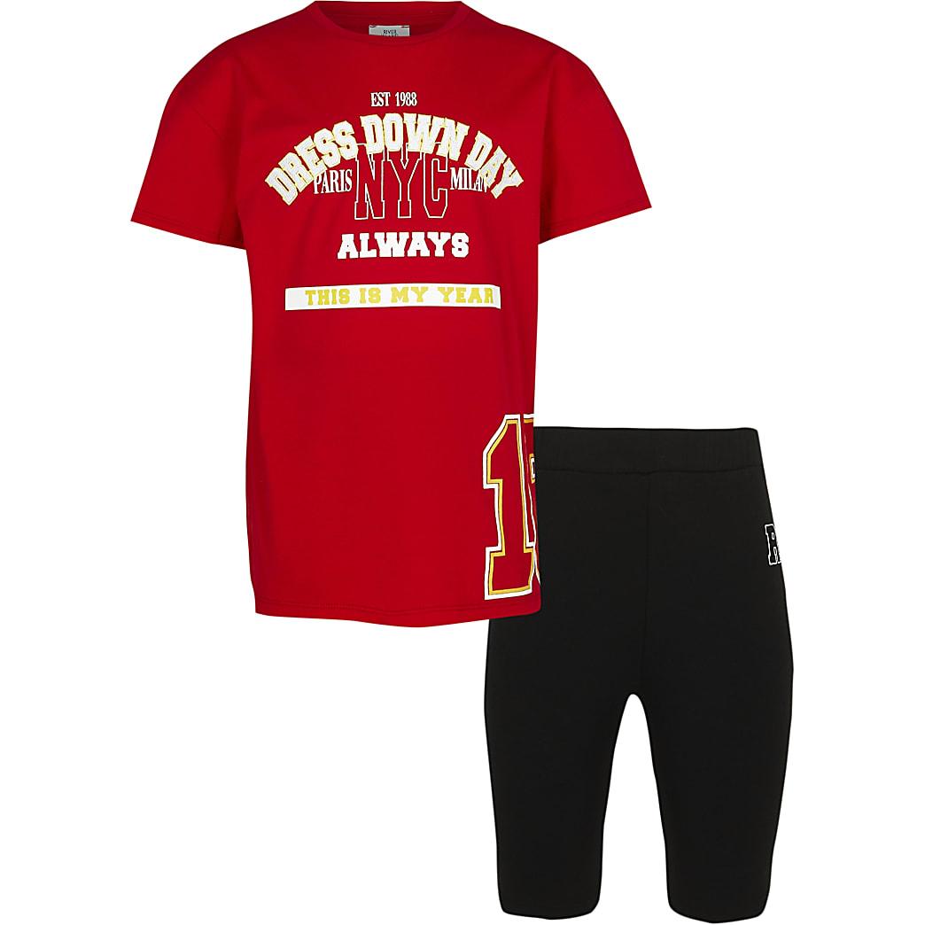 Girls red varsity t-shirt and cycling shorts