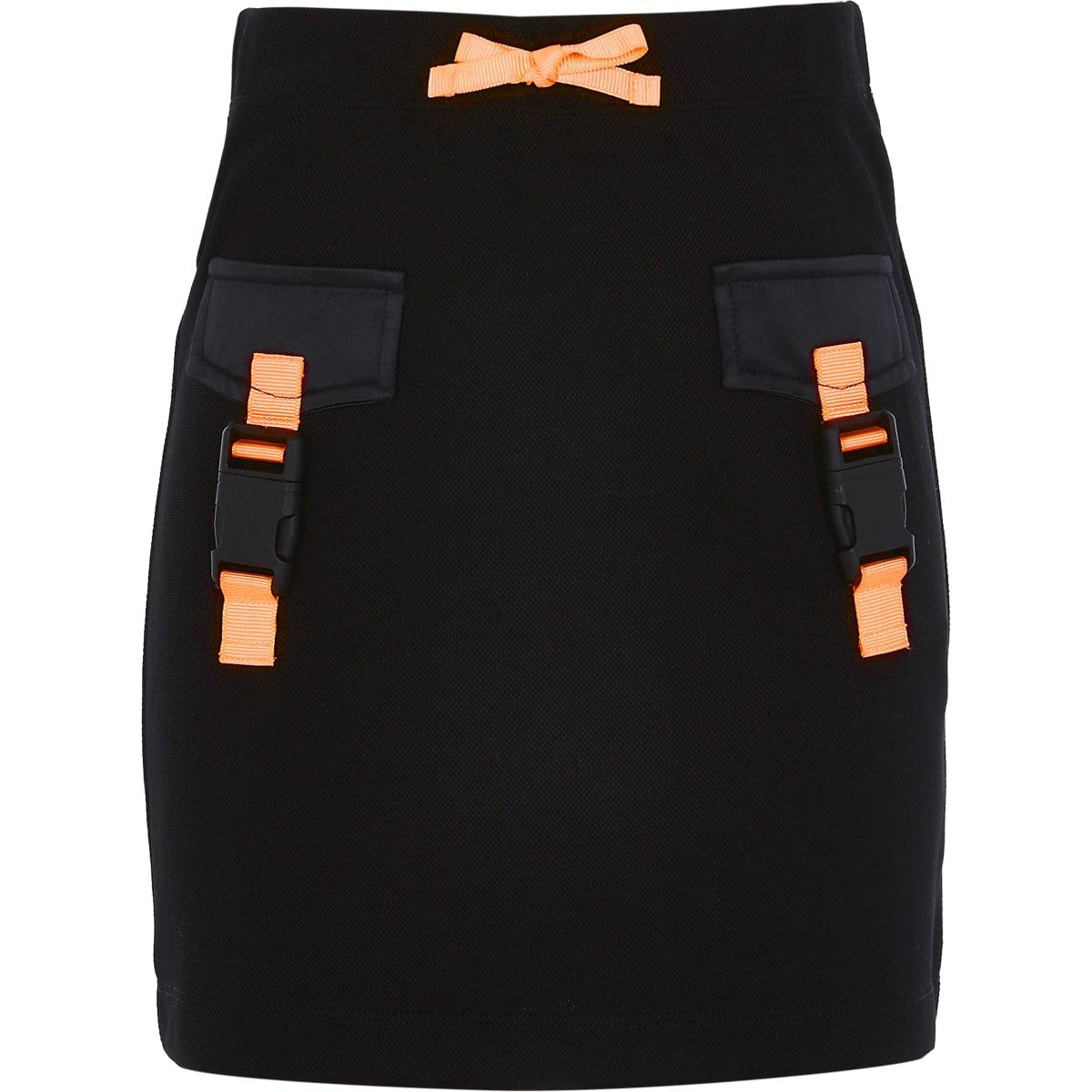 Girls RI Active black buckle front skirt