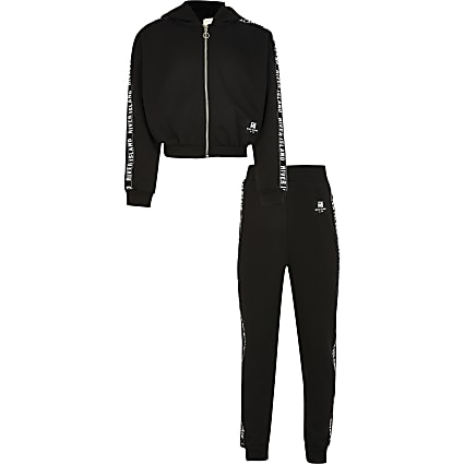 Girls RI Active black crop zip up hoodie set