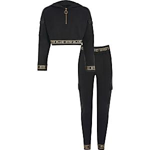 RI Active – Schwarzes, kurzes Hoodie-Outfit für Mädchen