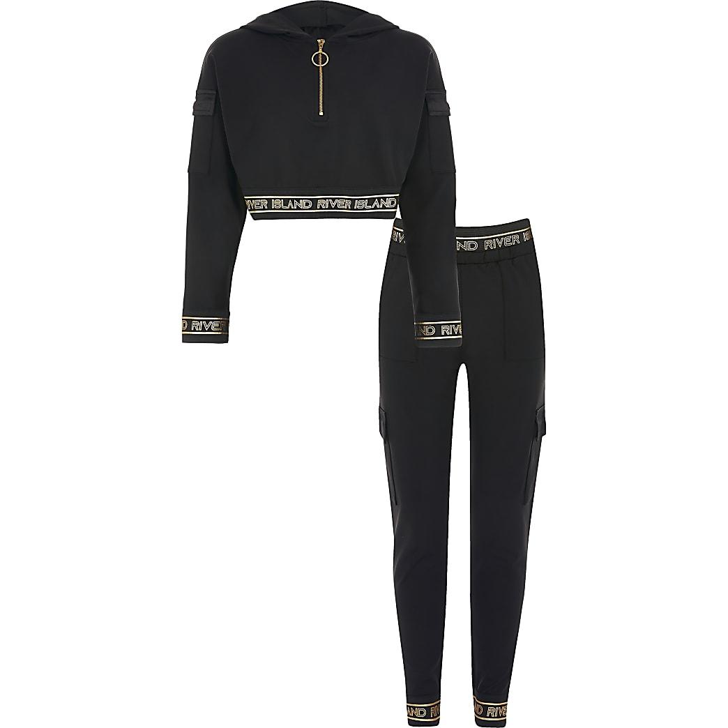 RI Active - Zwarte cropped hoodie outfit voor meisjes