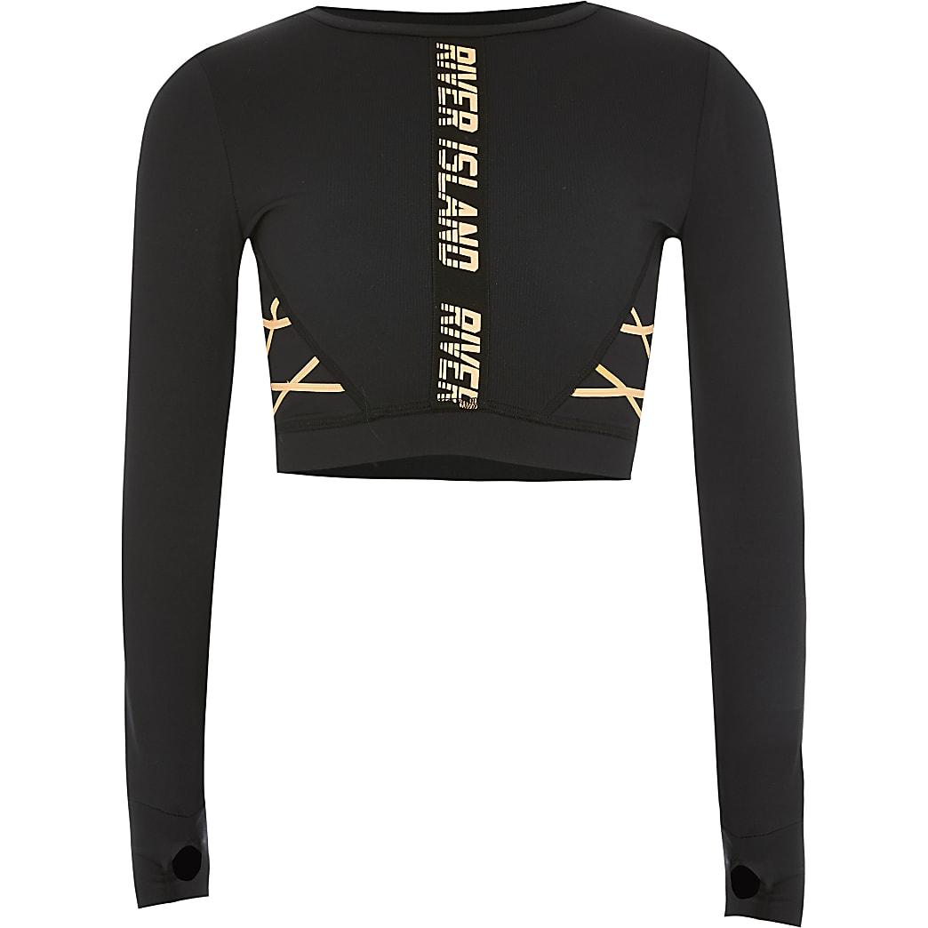 RI Active - Zwarte cropped top met veters voor meisjes