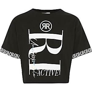 RI Active - Zwart crop T-shirt met print voor meisjes