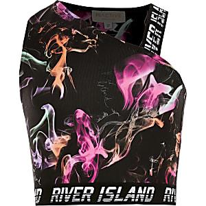 RI Active - Zwarte cropped top met print voor meisjes