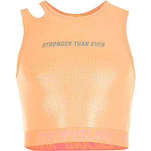 RI Active - Koraalkleurige glanzende cropped top voor meisjes