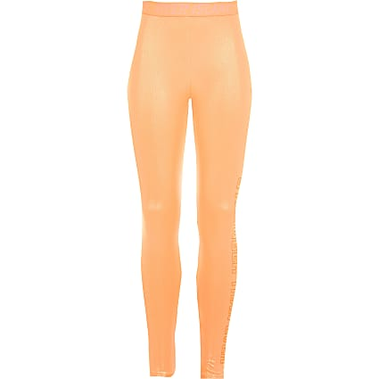 Girls RI Active coral shiny leggings