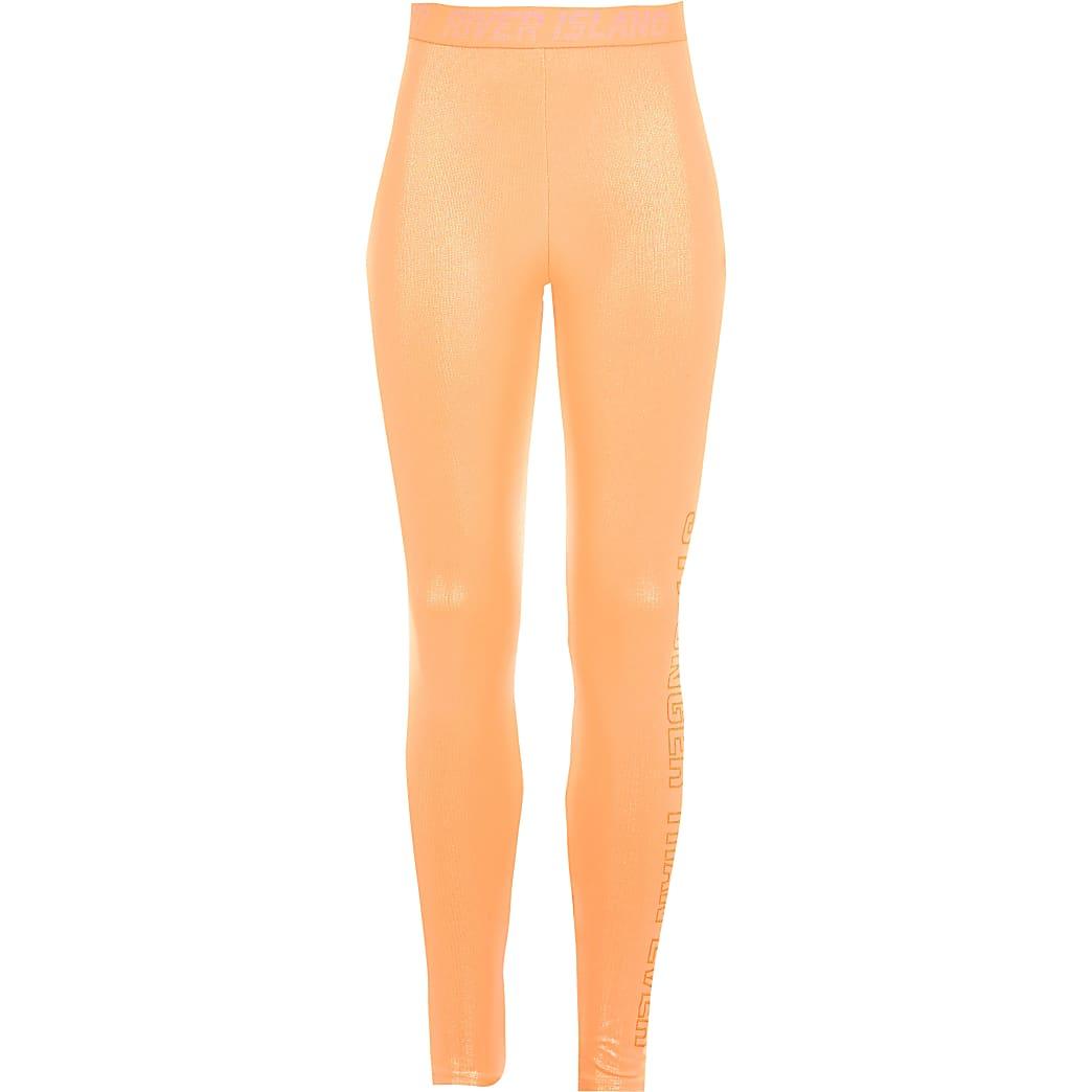 Girls RI Active coral shiny leggings