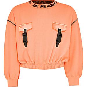 RI Active - Oranje sweater met gesp voor meisjes