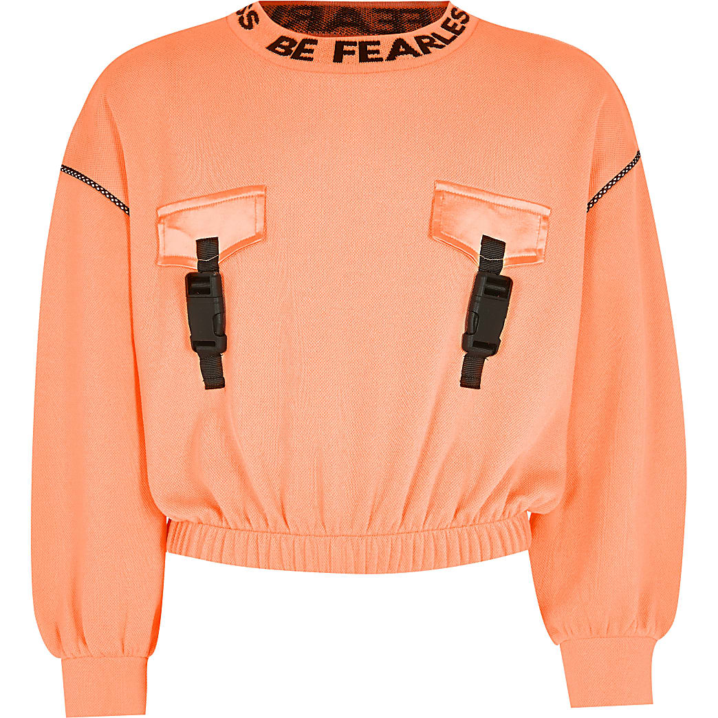Girls RI Active orange buckle sweatshirt
