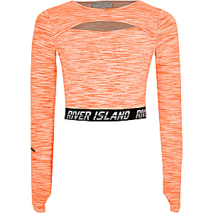 RI Active – Crop top orange à decoupes pour fille