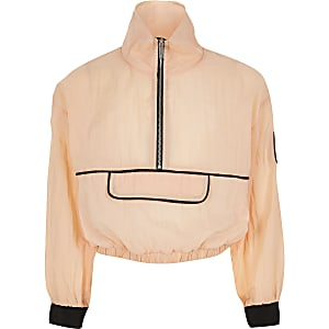 RI Active – Sweat orange à col zippé pour fille