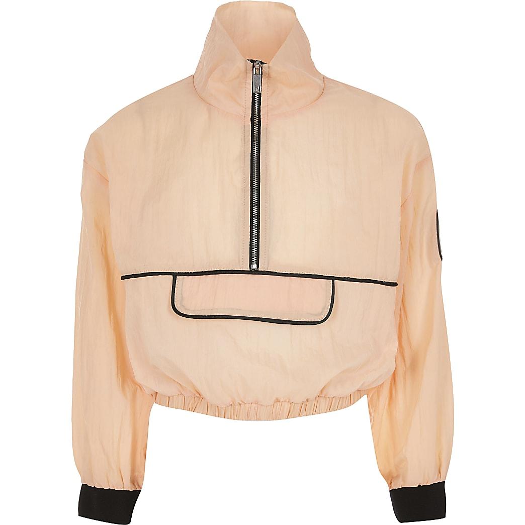 Girls RI Active orange half zip sweatshirt