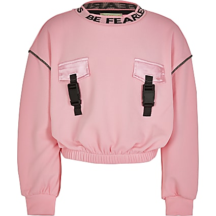 Girls RI Active pink crop sweatshirt