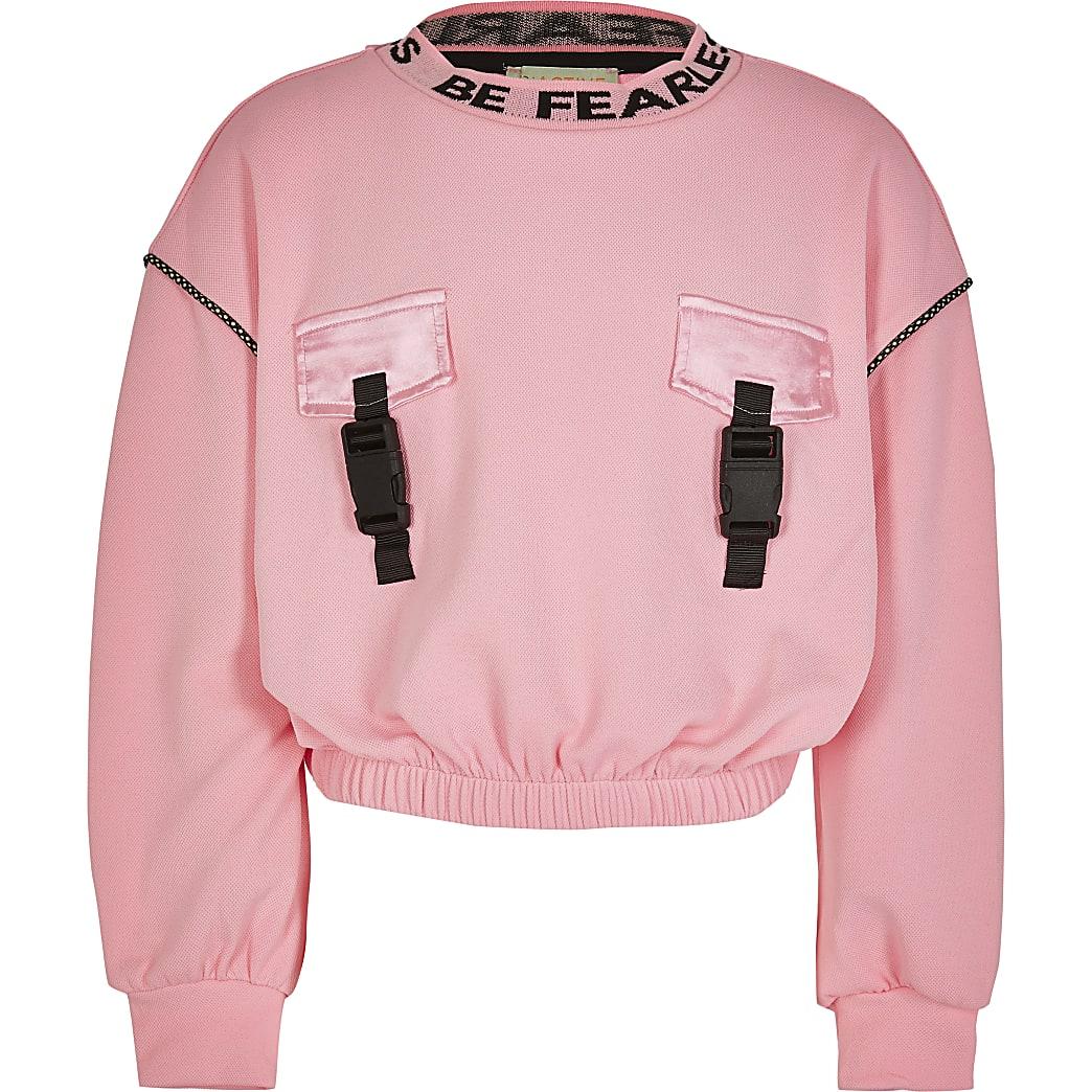 Girls RI Active pink crop sweatshirt