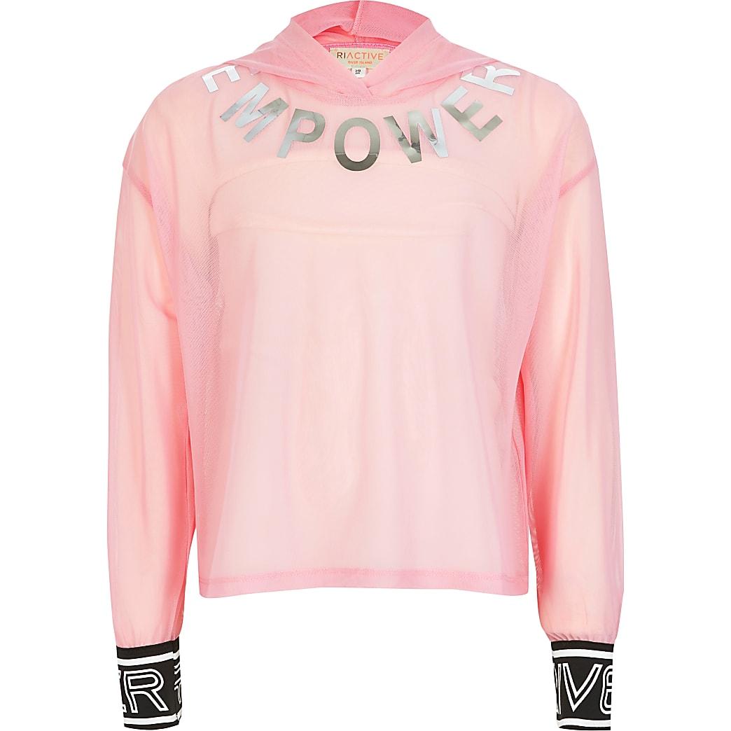 RI Active - Roze hoodie met meshen 'Empower'-print voor meisjes