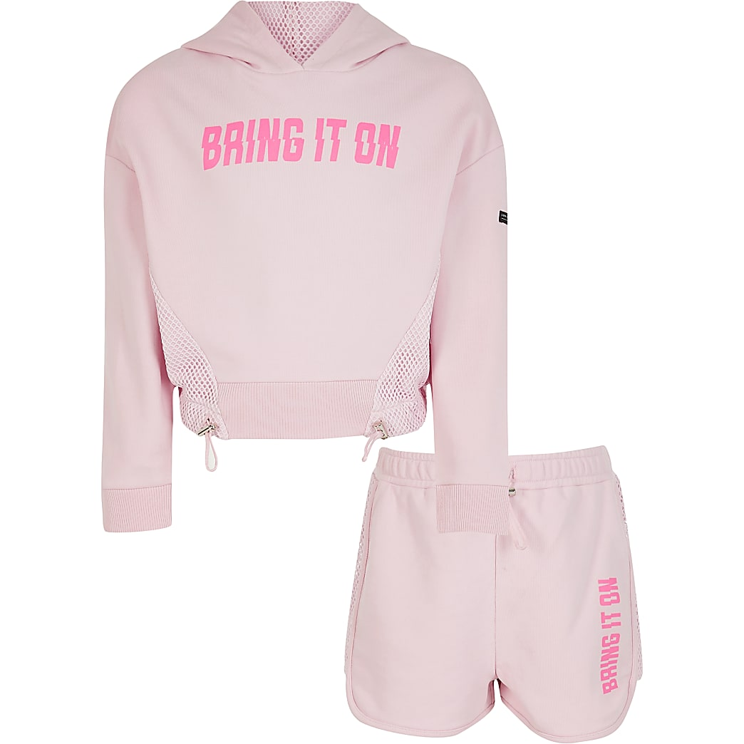 Girls RI Active pink mesh hoodie outfit