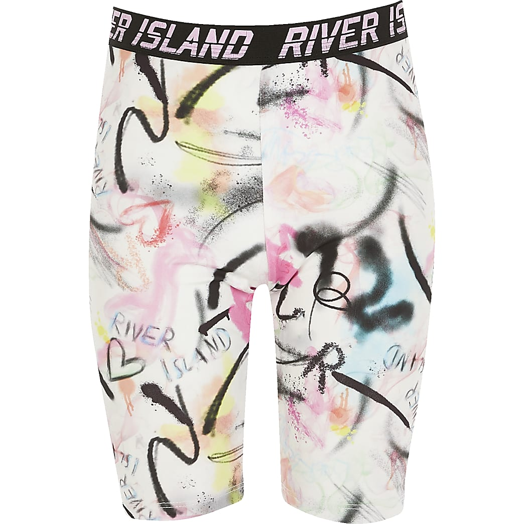 Girls RI Active pink printed cycling shorts