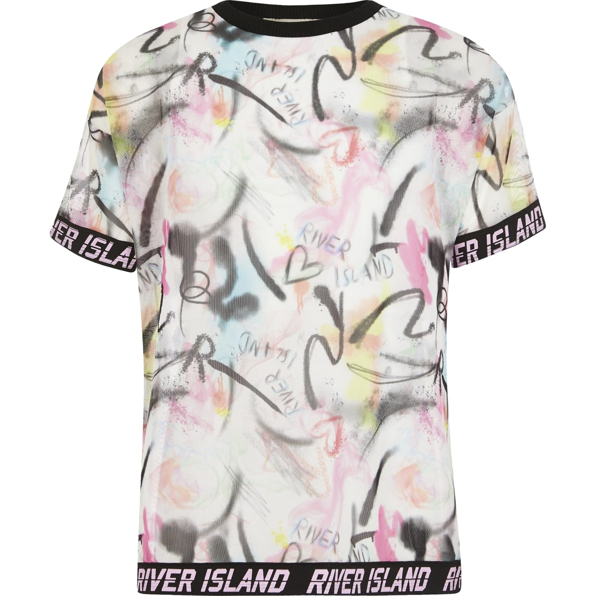 Girls RI Active pink printed mesh T-shirt