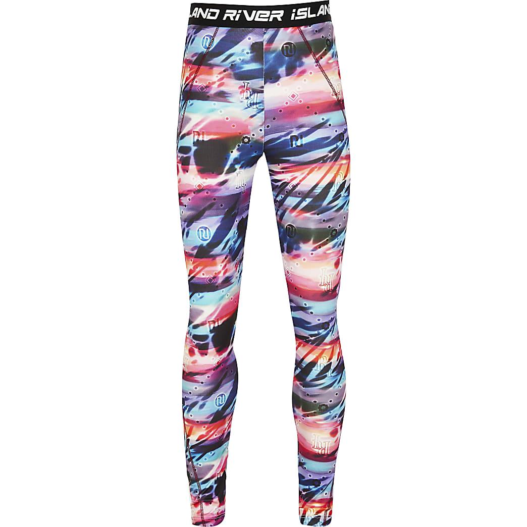 Girls RI Active pink tie dye leggings