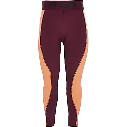 Girls RI Active purple colourblock leggings