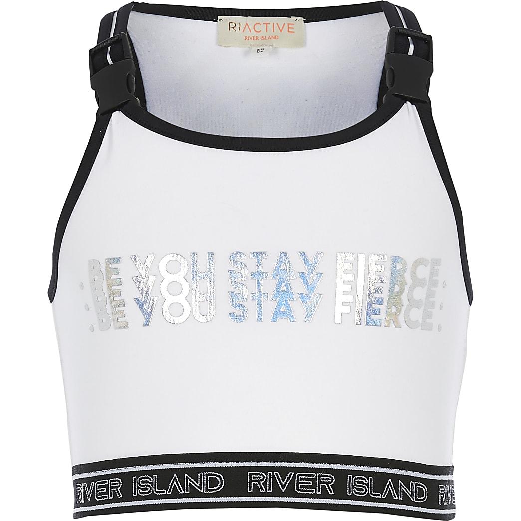 RI Active - Witte cropped top met folieprint voor meisjes