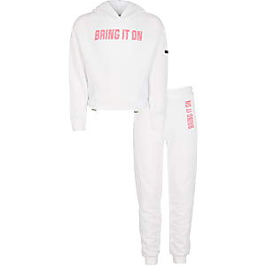 RI Active - Outfit mesh hoodie in wit voor meisjes