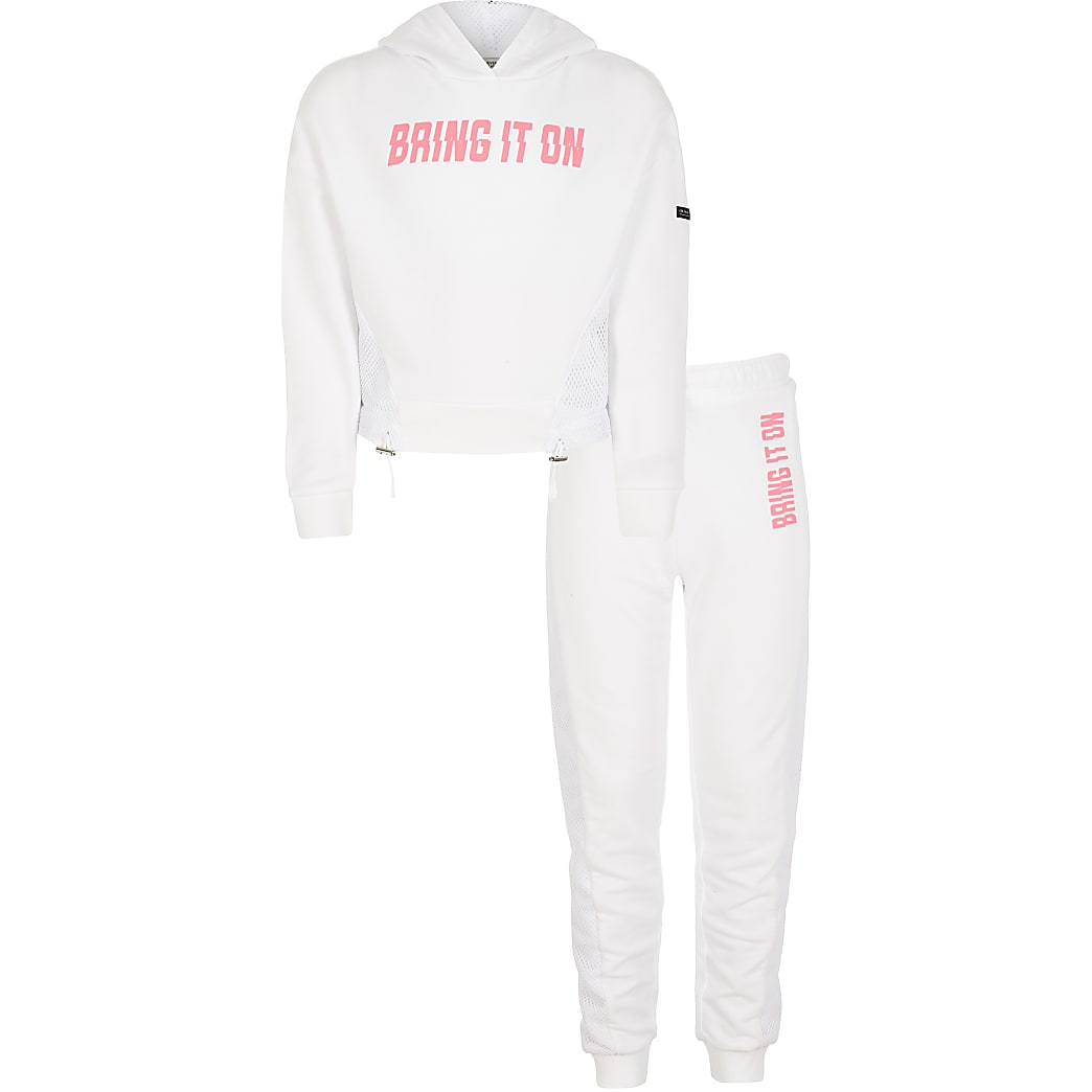 Girls RI Active white mesh hoodie outfit