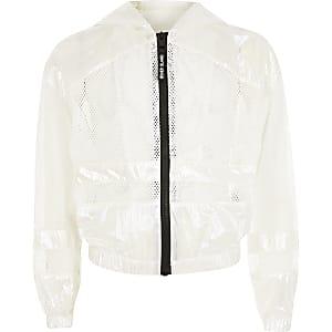 RI Active – Weiße Mesh-Jacke für Mädchen