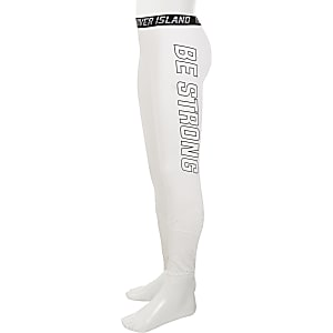 Girls RI Active white mesh panel leggings