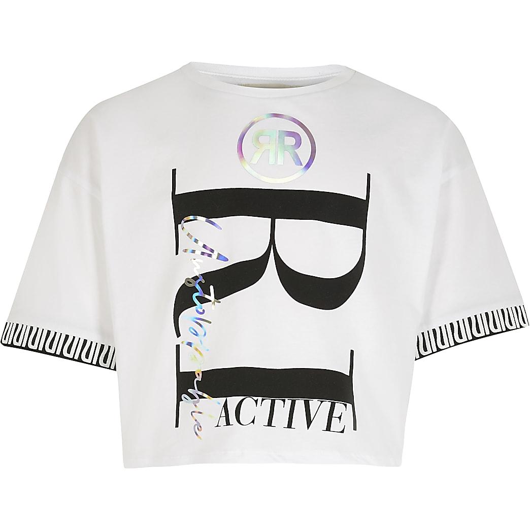Girls RI Active white printed crop T-shirt