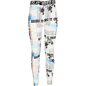 Girls RI Active white printed leggings