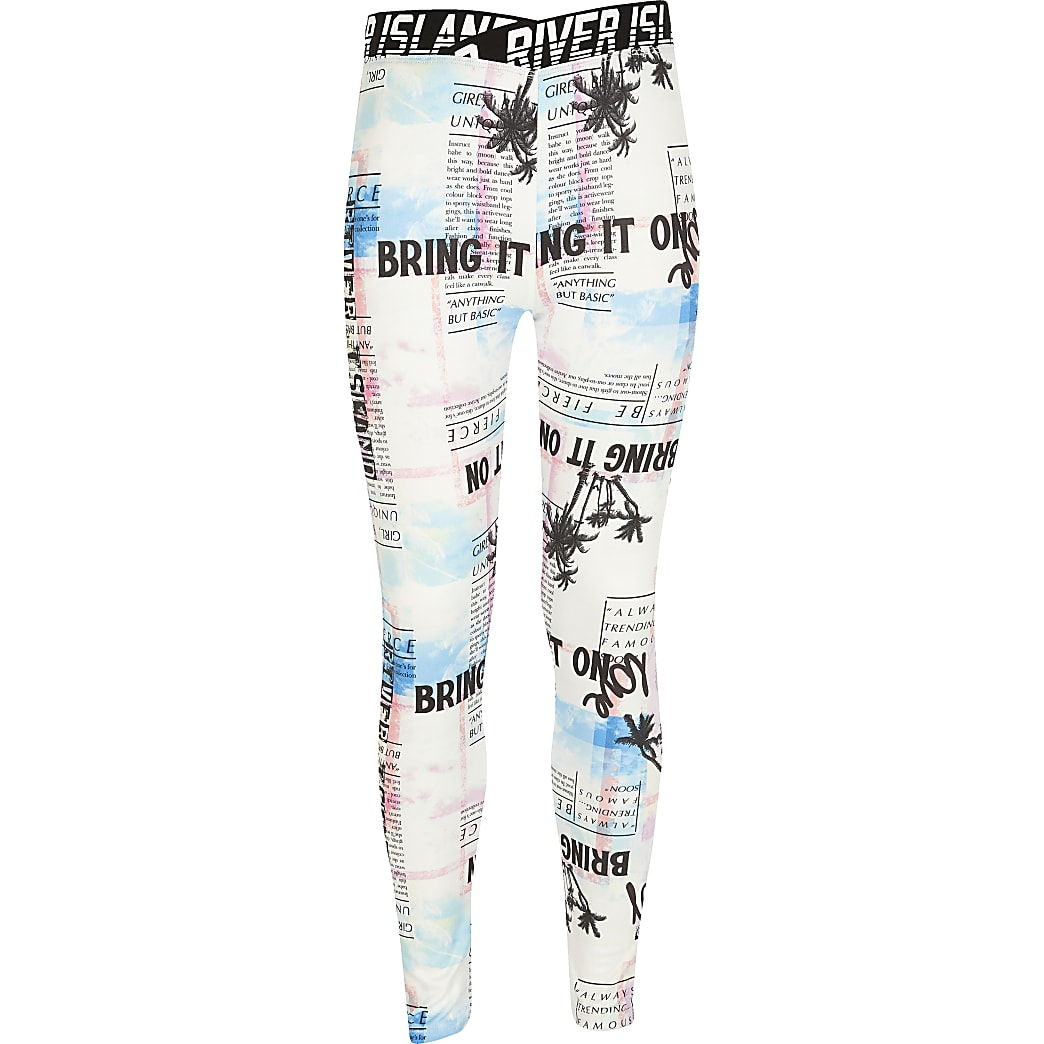 Girls RI Active white tie dye print leggings