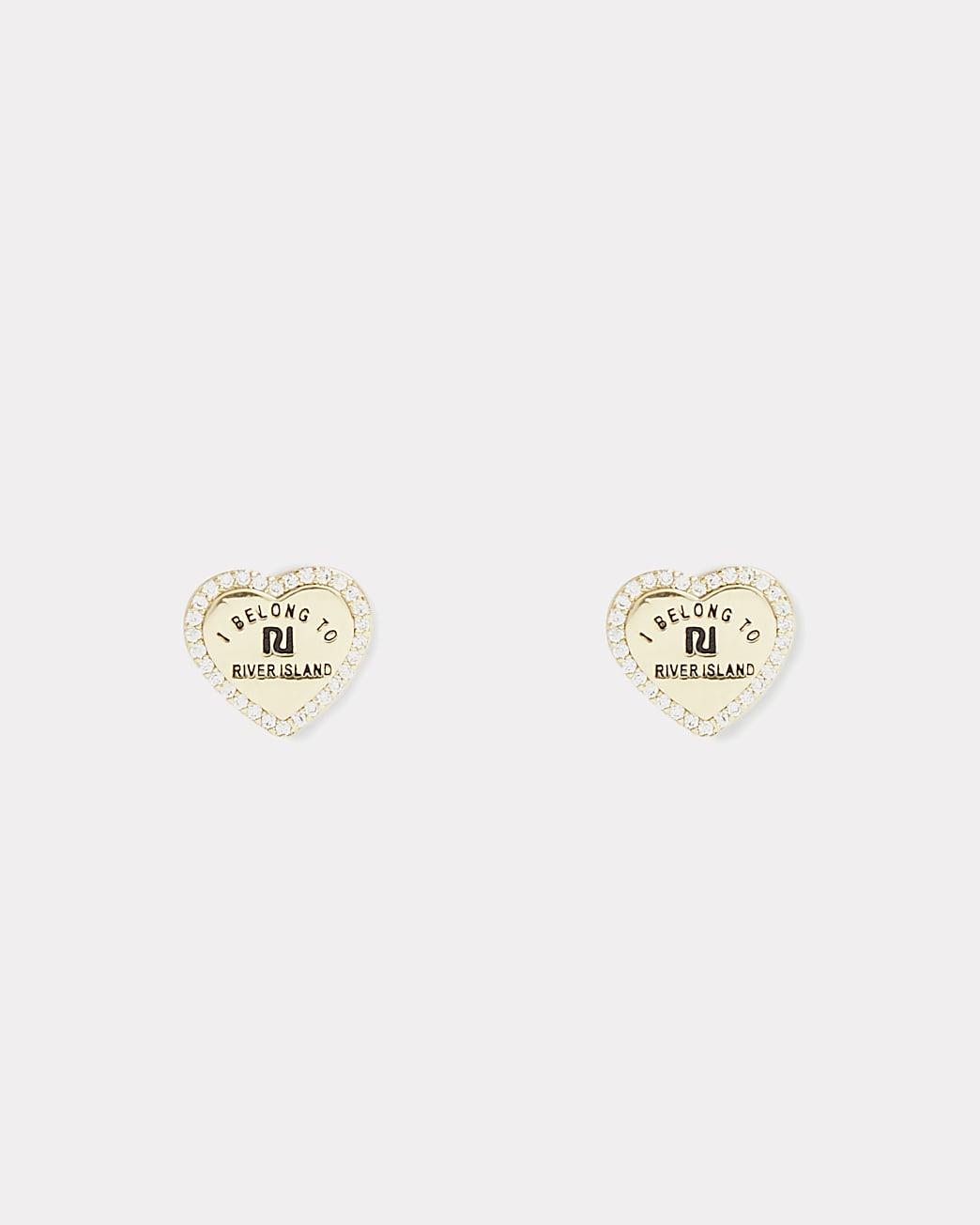 Girls RI gold plated heart stud earrings