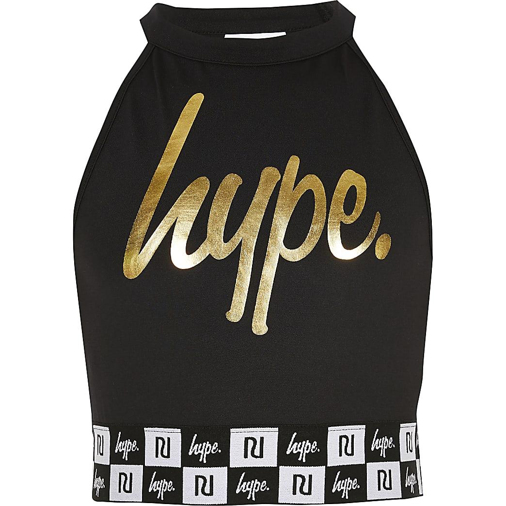 RI x Hype - Zwarte crop top met print voor meisjes