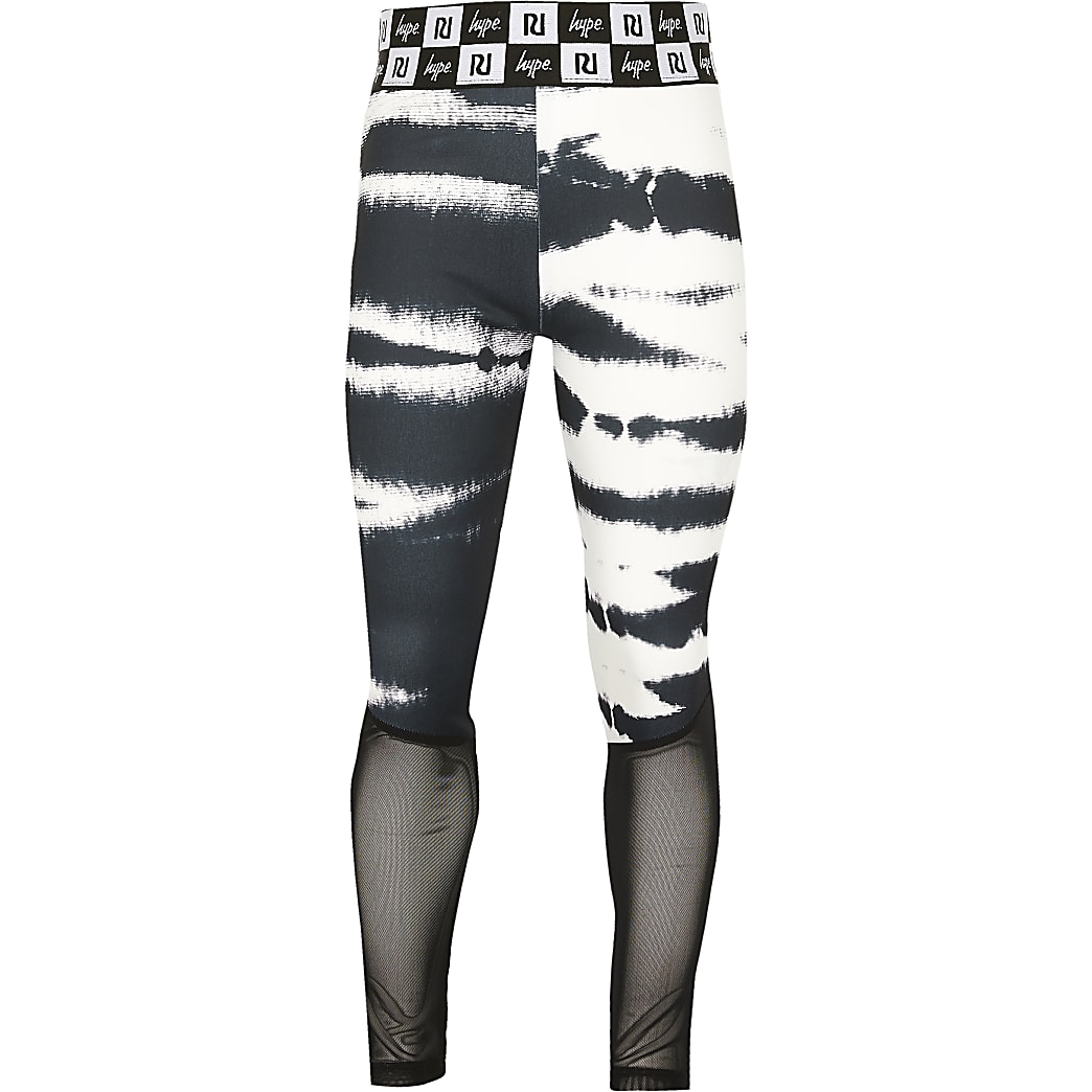 Girls RI x Hype black tie dye panel leggings