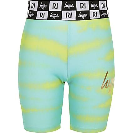 Girls RI x Hype green printed cycling shorts