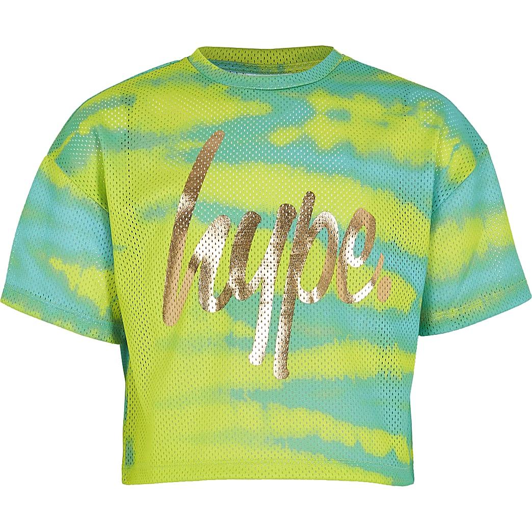 Girls RI x Hype green printed mesh T-shirt
