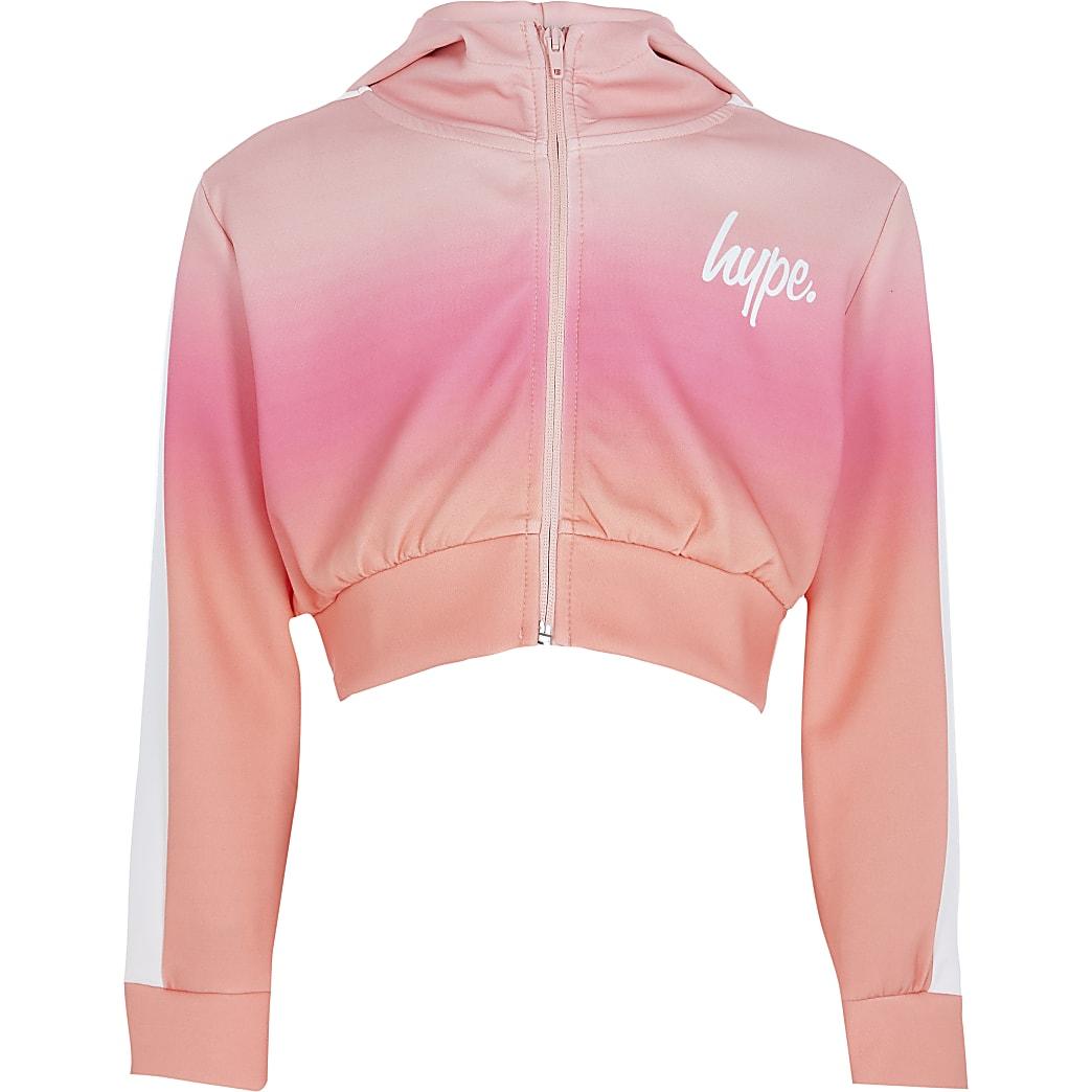 Girls RI x Hype pink fade hoodie