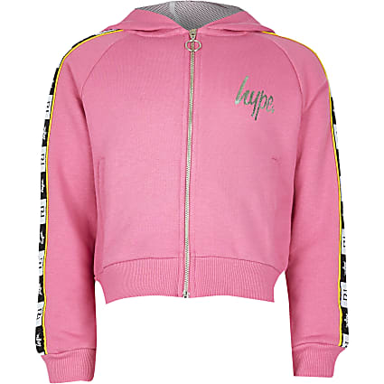 Girls RI x Hype pink side tape hoodie