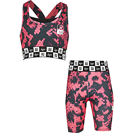 Girls RI x Hype pink snake crop and shorts
