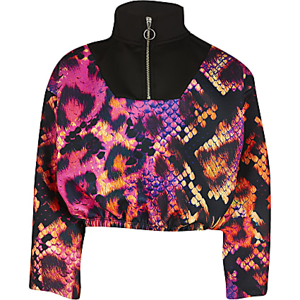 Girls RI x Hype pink snake funnel neck sweat